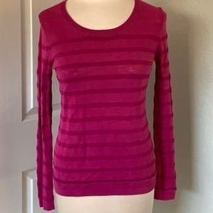 Pink Textured Two Toned Long Sleeve Top